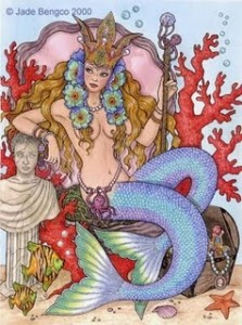 A cartoon drawing of a Sea Queen sitting at the bottom of the ocean with her treasure.