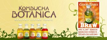 Kombucha Botanica Banner featuring their flavor line from 2009.