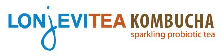 The banner logo for Longevitea Kombucha