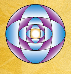 The Kombucha Botanica symbol is purple and blue concentric shapes into a yellow sun-like center.