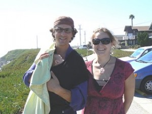 Hannah Crum, The Kombucha Mamma, and Adam Goodman of Kombucha Botanica stand by the Santa Cruz coastline in 2007