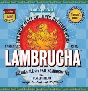 The logo for Lambrucha, a Belgian-style Lambic (unblended) ale mixed with Kombucha Tea, made by Vanberg & DeWulf in Cooperstown, NY.