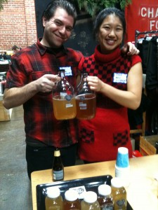 Ben Graff and Rana Chang of House Kombucha sampling their wares at the SFMade holiday mixer