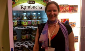 Hannah Crum, The Kombucha Mamma, and the Celestial Seasonings Kombucha display at Natural Products Expo West 2011