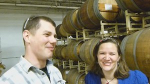 Tom Korder, Brewing Operations Manager of Goose Island in Chicago, shares a laugh with Hannah Crum of Kombucha Kamp