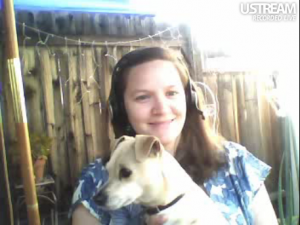 Hannah Crum, The Kombucha Mamma, with Sydney on lap hosts the first online Kombucha Klatch on April 17, 2011