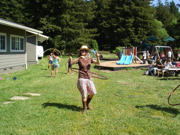 Hula hooping on the grass at Salmon Creek school, site of the Freestone Fermentation Festival 5.21.11