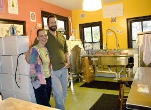 Rachel and Tarek Kanaan of Unity Vibration Kombucha show off their home brewery set up