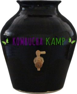 Black Stoneware Brewing Vessel with wooden spigot, the ultimate handmade Kombucha Jar