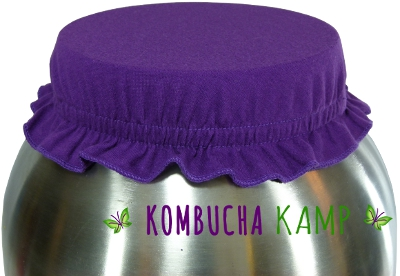 Purple Cotton Kombucha Jar and Brewer Caps from KKamp are a stylish option for covering the brew