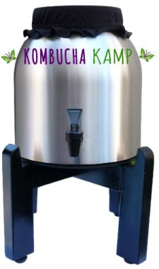 Kombucha Container for Brewing - Stainless Steel vessel with black stand from KKamp